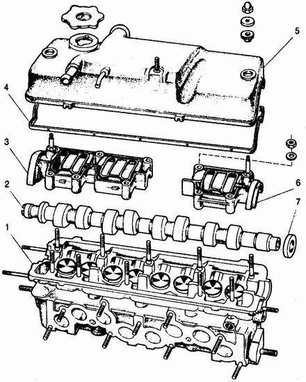 Головка блока цилиндров ВАЗ 2106 1 - головка цилиндров; 2 - распределительный вал; 3 - задний корпус подшипников распределительного вала; 4 - прокладка; 5 - крышка головки цилиндров; 6 - передний корпус подшипников распределительного вала; 7 - сальник распредвала