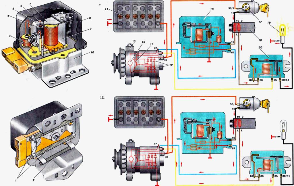 rele6 1024x647 - Схема подключения регулятора напряжения к генератору