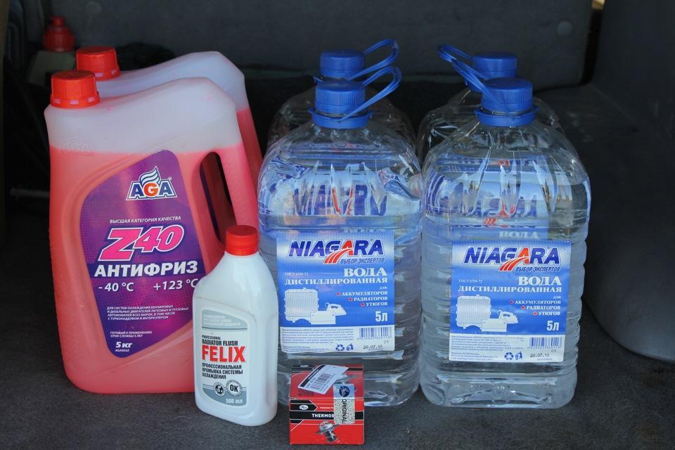 Дистиллированная вода и антифриз