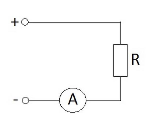 Стандартное подключение амперметра для измерения силы тока в цепи